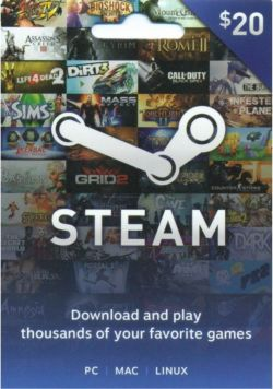 Steam Gift Card (US$ 20 / for US accounts only)
