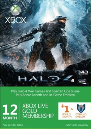 Xbox Live 12+1+Halo 4 emblem Worldwide Gold Member Subscription